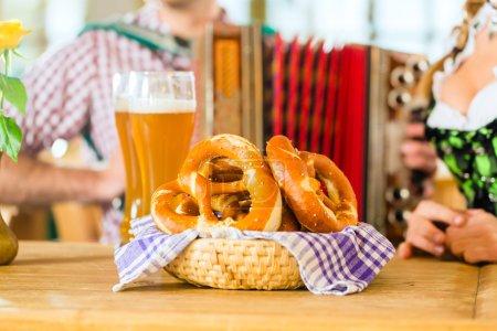 Bavarian restaurant with beer and pretzels