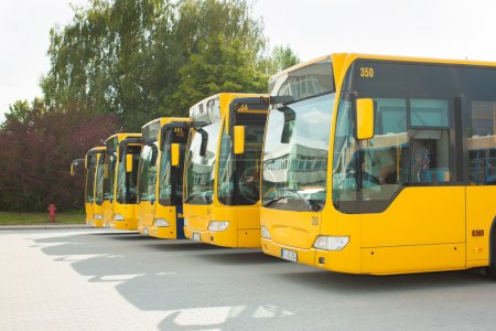Busses parking in row on bus station or terminal