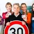 Driving school - driving instructor and student dr...