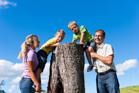 Family on excursion in summer
