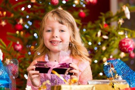 Christmas - little girl with Xmas present