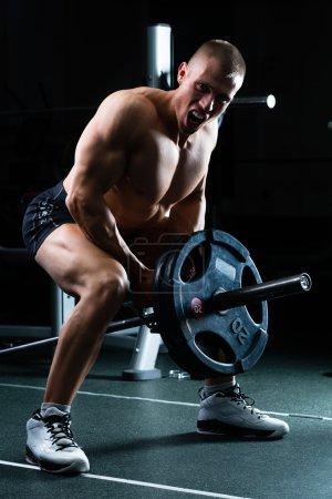 Photo pour Homme fort - bodybuilder avec haltères dans une salle de gym, l'exercice avec un haltère - image libre de droit