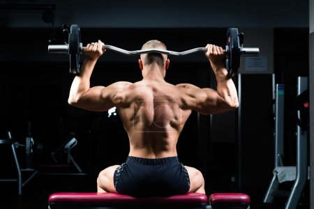 Photo for Strong man - bodybuilder with dumbbells in a gym, exercising with a dumbbell - Royalty Free Image