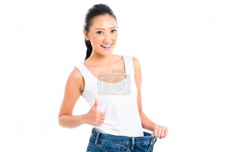Asian Chinese woman losing weight with diet