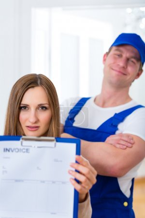 Craftsman or plumber giving overpriced invoice