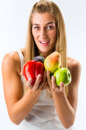 Photo for Healthy eating, happy woman with fruits and vegetables - Royalty Free Image