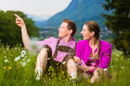 Happy couple in Alpine meadow