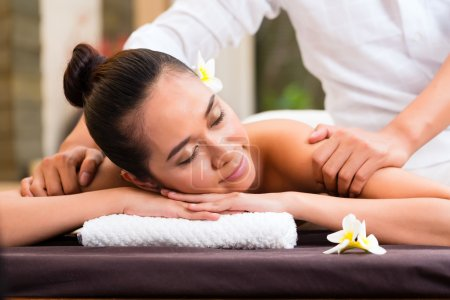 Indonesian Asian woman in wellness beauty day spa ...