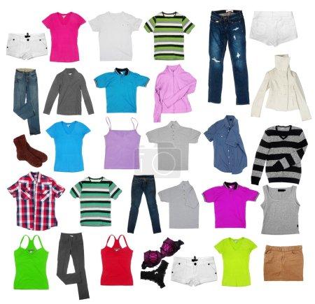 Photo pour Vêtements divers sur le blanc - image libre de droit
