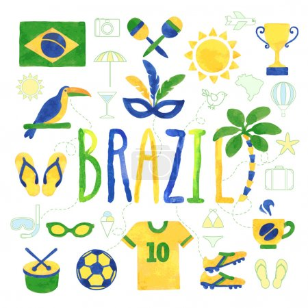 Illustration for Watercolor Brazil icons - vector - Royalty Free Image