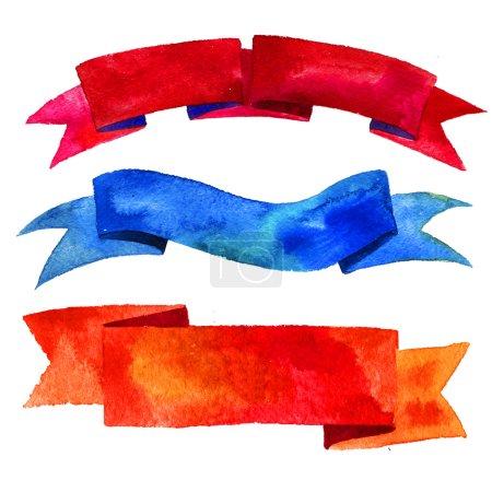 Photo pour Rubans aquarelles et bannières pour texte. Collection d'éléments de design aquarelle, fonds, étiquettes, bulle, ruban avec ombre. Rayures abstraites colorées dessinées à la main . - image libre de droit