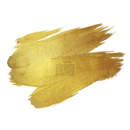 Gold Shining Paint Stain Hand Drawn Illustration...