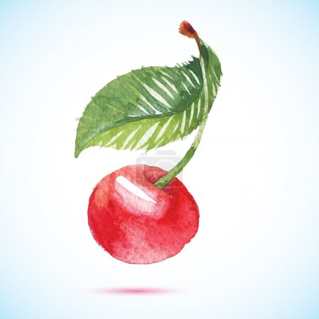 Illustration for Cherry berry set with leaf. Watercolor hand drawn illustration - Royalty Free Image