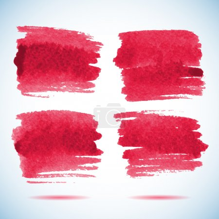 Brushstroke banners. Ink red watercolor spot backgrounds.Template with shadow