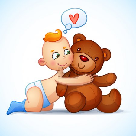 Baby boy redhead hugs TEDDY BEAR toy on a white background. Easter teddy plush toy. Little boy lovingly looking at the bear
