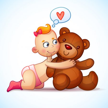 Baby girl redhead hugs teddy bear toy on a white background. Bear plush toy. Little girl lovingly looking at the teddy