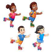 Rollerblading children boys and girls African American children and Asian children Children in sport enjoy the speed and childhood Little dark-skinned and asian children ride on roller skates