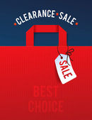 Clearance Sale Poster with percent discount Illustration of paper shopping bags and lights