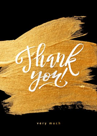 Illustration for Shine Gold Foil Thank You Card. Calligraphy on Black Background. Thank You Hand lettering handmade vector calligraphy - Royalty Free Image