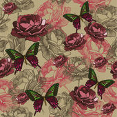 Seamless background with vintage roses and butterflies hand-dra