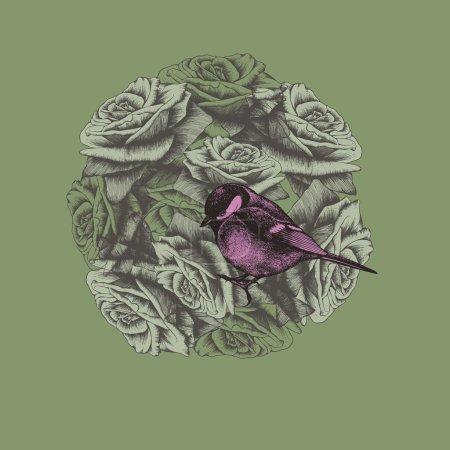 Illustration pour Fond printanier avec fleurs et oiseau, dessin à la main. Illustration vectorielle . - image libre de droit