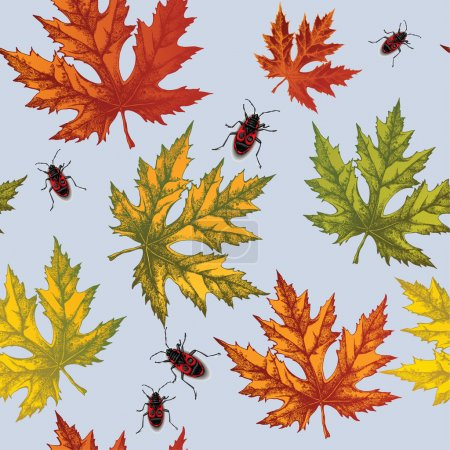 Seamless wallpaper with autumn maple leaves and red beetles, han