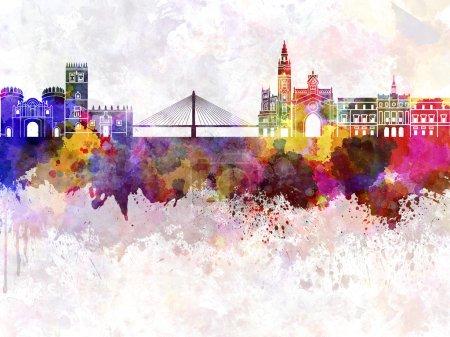Badajoz skyline in watercolor background...