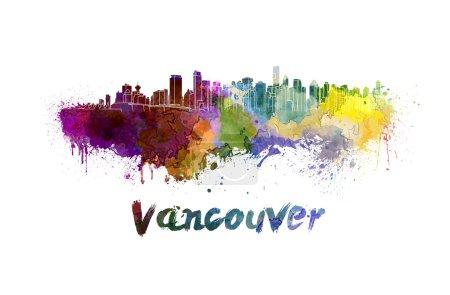 Vancouver skyline in watercolor