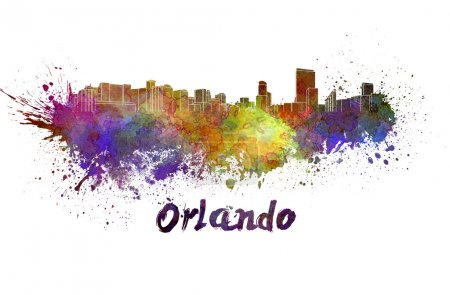 Orlando skyline in watercolor