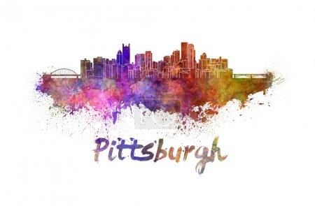 Pittsburgh skyline in watercolor