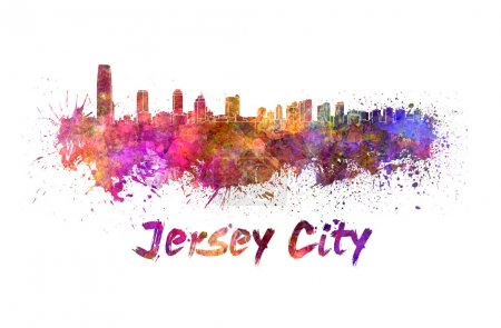 Jersey City skyline in watercolor