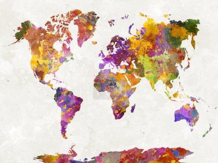 Photo pour Carte du monde en éclaboussures abstrait aquarelle - image libre de droit