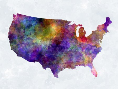 Photo for United States map in watercolor painting abstract splatters - Royalty Free Image