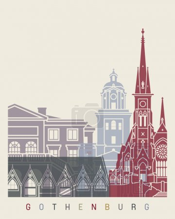 Gothenburg skyline poster in editable vector file...