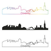 Coventry skyline linear style with rainbow