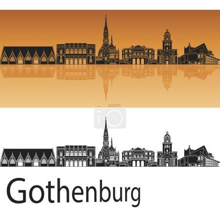 Gothenburg skyline in orange background in editabl...