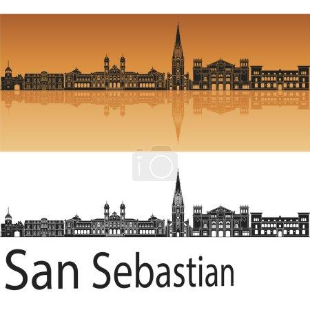 San Sebastian skyline in orange background in edit...