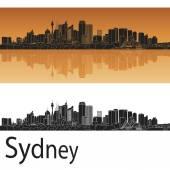 Sydney V2 skyline in orange background in editable vector file