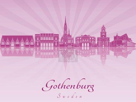 Gothenburg skyline in purple radiant orchid in edi...