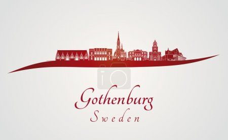 Gothenburg skyline in red and gray background in e...