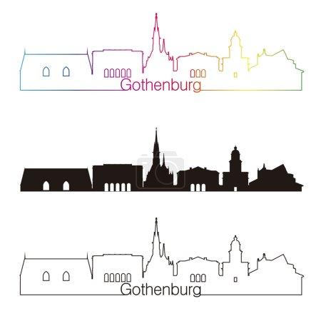 Gothenburg skyline linear style with rainbow in ed...