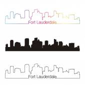Fort lauderdale skyline linear style with rainbow