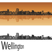 Wellington skyline in orange background in editable vector file