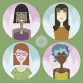 Set of four cartoon avatars - girls 01