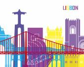 Lisbon skyline pop in editable vector file