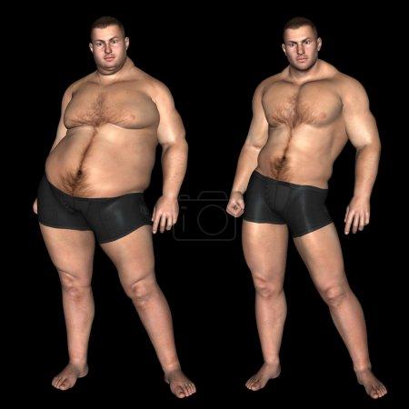 fat overweight vs slim fit man