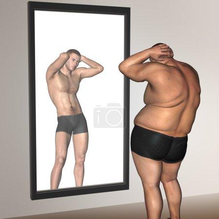 Fat overweight vs slim man