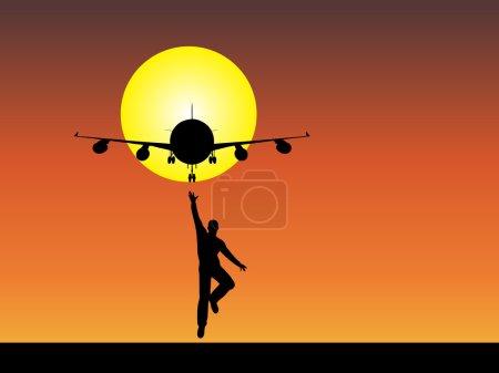 Businessman black silhouette with plane