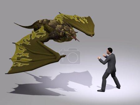 man fighting with Dinosaur