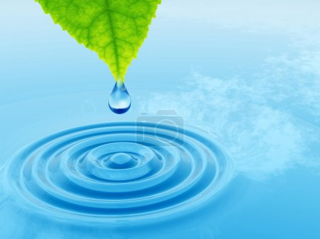 Photo for Conceptual water or dew drop falling from a green fresh leaf on a blue clear water making waves - Royalty Free Image